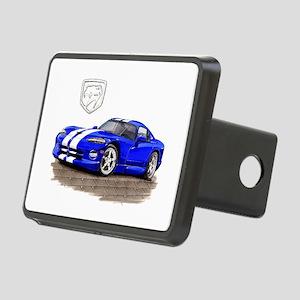 Viper Blue/White Car Rectangular Hitch Cover
