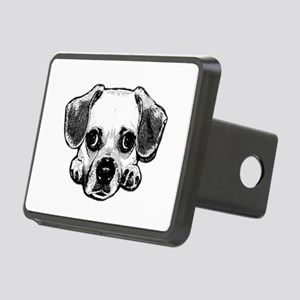 Black & White Puggle Rectangular Hitch Cover