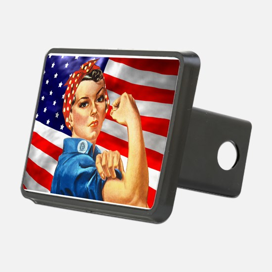 Rosie the Riveter with US Flag Background Rectangu
