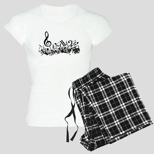 Black Musical Notes Women's Light Pajamas