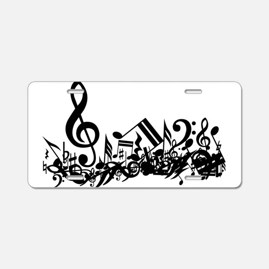 Black Musical Notes.png Aluminum License Plate