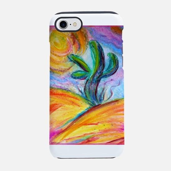 Saguaro cactus, colorful art. iPhone 7 Tough Case