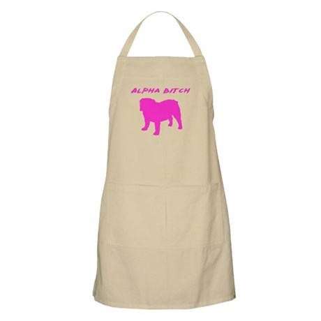 Bulldog Alpha Bitch Pink Apron