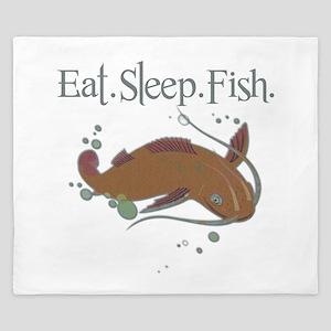 Eat.Sleep.Fish. King Duvet