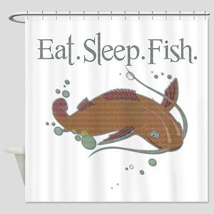 Eat.Sleep.Fish. Shower Curtain