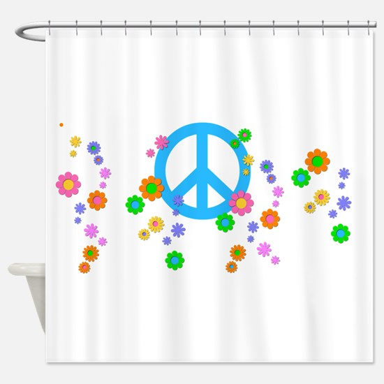 Peace sign and Flowers Shower Curtain