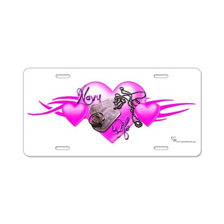 NavyWife.png Aluminum License Plate