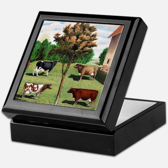 Vintage Cow Art Keepsake Box