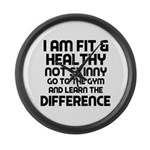 I am Fit & Healthy Large Wall Clock