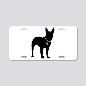 Bullterrier Breast Cancer Support Aluminum License