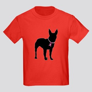 Bullterrier Breast Cancer Support Kids Dark T-Shir