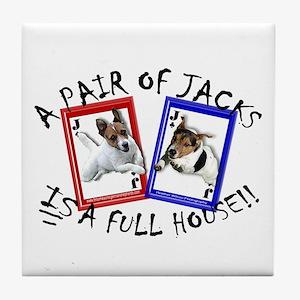 """Jack Russell Terrier """"PAIR OF JACKS"""" Tile Coaster"""