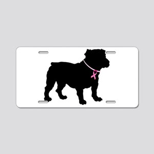 Bulldog Breast Cancer Support Aluminum License Pla