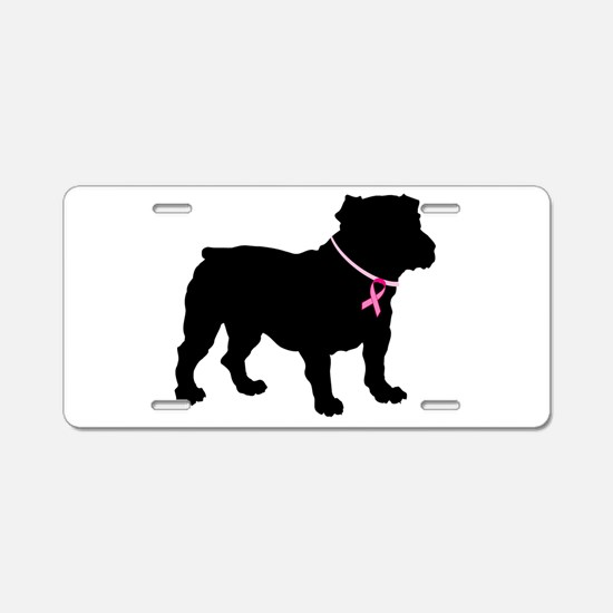 Bulldog Breast Cancer Support Aluminum License Pla