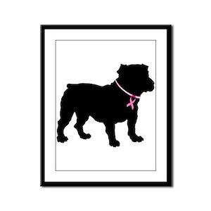Bulldog Breast Cancer Support Framed Panel Print