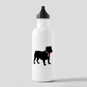Bulldog Breast Cancer Support Stainless Water Bott