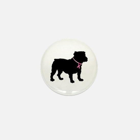 Bulldog Breast Cancer Support Mini Button