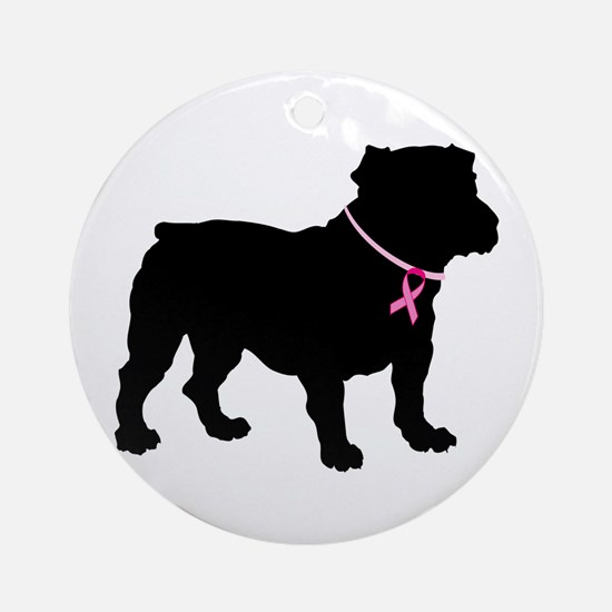 Bulldog Breast Cancer Support Ornament (Round)