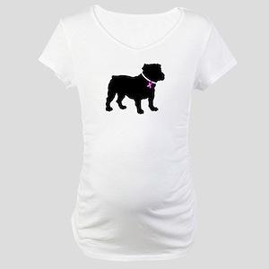 Bulldog Breast Cancer Support Maternity T-Shirt