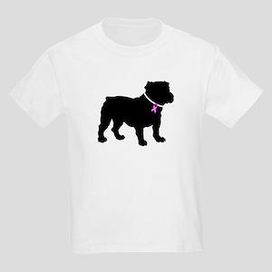 Bulldog Breast Cancer Support Kids Light T-Shirt