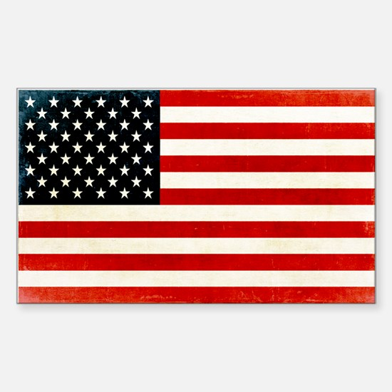 Vintage American Flag Sticker (Rectangle)