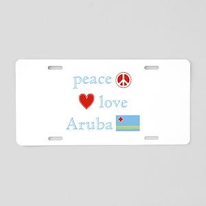 Peace, Love and Aruba Aluminum License Plate