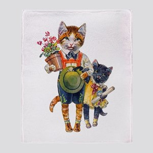 Cute Cats Bearing Gifts Throw Blanket