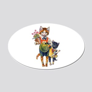 Cute Cats Bearing Gifts 22x14 Oval Wall Peel