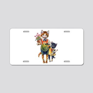 Cute Cats Bearing Gifts Aluminum License Plate