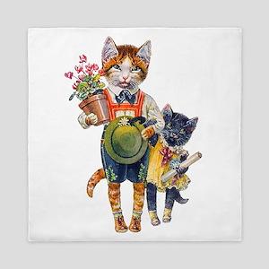 Cute Cats Bearing Gifts Queen Duvet