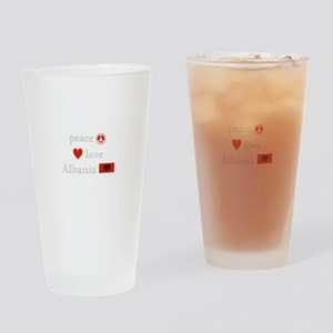 Peace, Love and Albania Drinking Glass