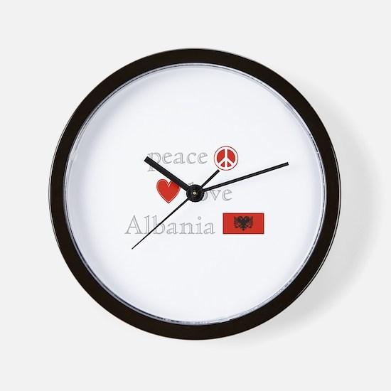 Peace, Love and Albania Wall Clock