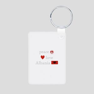 Peace, Love and Albania Aluminum Photo Keychain