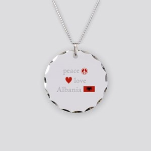 Peace, Love and Albania Necklace Circle Charm