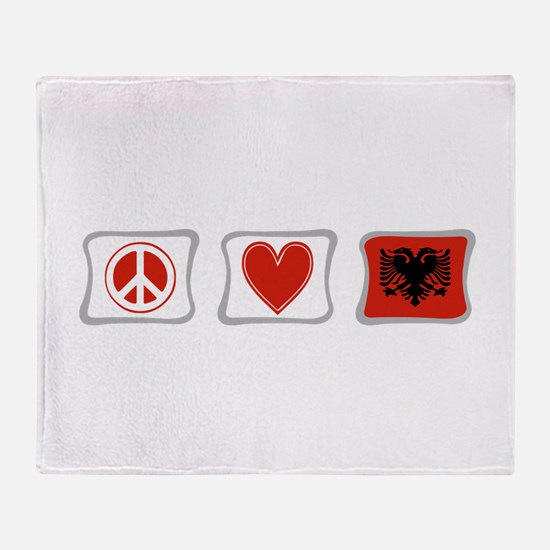 Peace, Love and Albania Throw Blanket