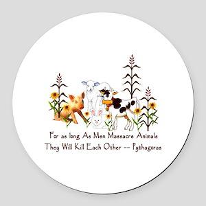 Pythagoras Vegetarian Quote Round Car Magnet