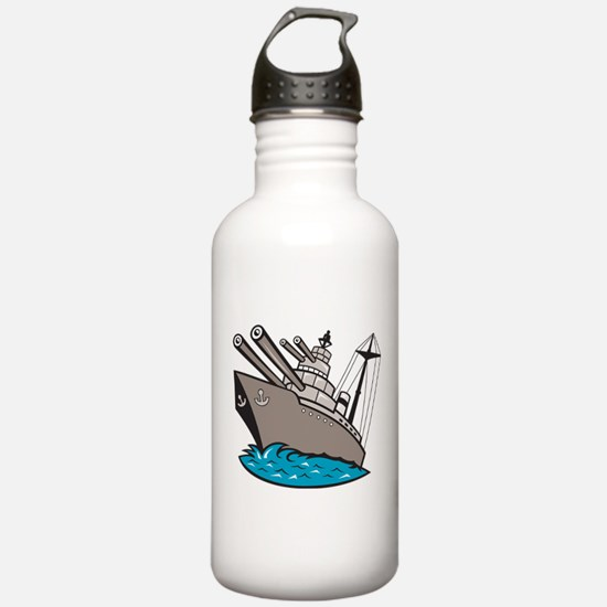 Warship Battleship Boat With Big Guns Water Bottle