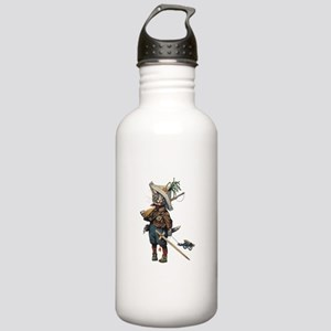 Cute Cat Plays Soldier Stainless Water Bottle 1.0L