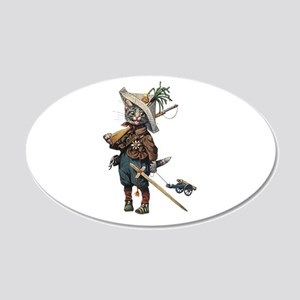Cute Cat Plays Soldier 22x14 Oval Wall Peel