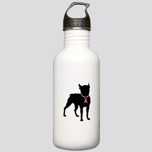 Boston Terrier Breast Cancer Support Stainless Wat