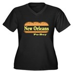 Poboy Women's Plus Size V-Neck Dark T-Shirt