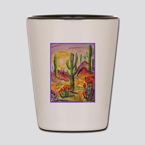 Saguaro Cactus, desert Southwest art! Shot Glass