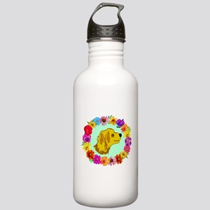 Dog in Flower Wreath Stainless Water Bottle 1.0L