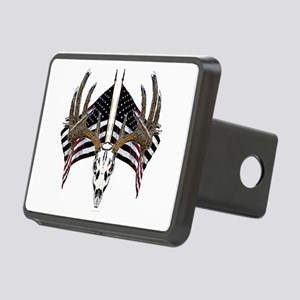 Whitetail, USA flag Rectangular Hitch Cover
