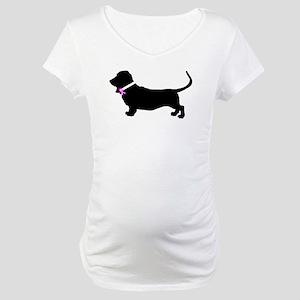 Basset Hound Breast Cancer Su Maternity T-Shirt