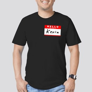 Kevin, Name Tag Sticker Men's Fitted T-Shirt (dark