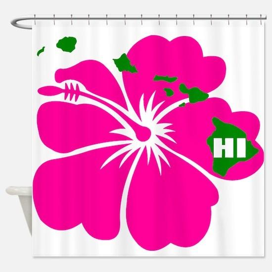 Hawaii Islands & Hibiscus Shower Curtain