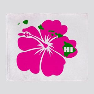 Hawaii Islands & Hibiscus Throw Blanket