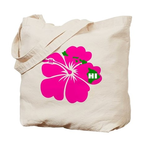 Hawaii Islands & Hibiscus Tote Bag