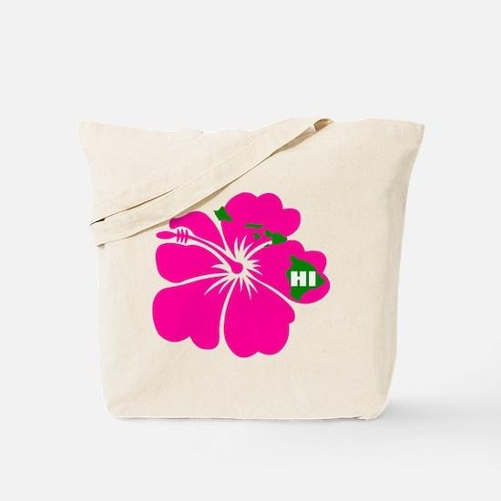 Hawaii Islands & Hibiscus Tote Bag